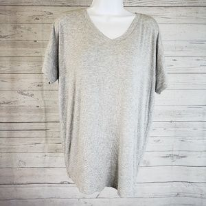 CAbi #5062 Double V Tee Sz Large Heathered Gray